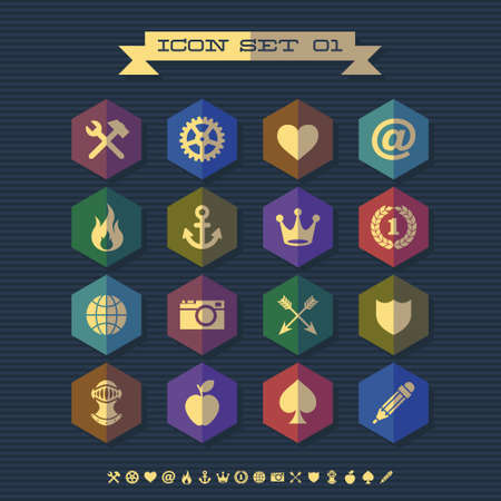 icon set 01 with crown, shield, arrow, gear Vector