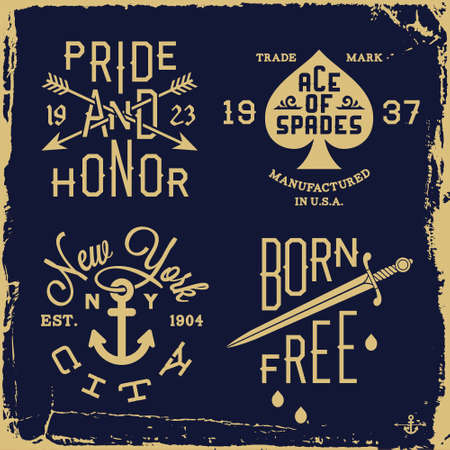 vintage label met mes, anker, pijl (T-shirt Print) Stock Illustratie