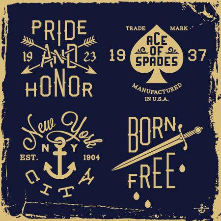 vintage etiket: vintage label met mes, anker, pijl (T-shirt Print) Stock Illustratie