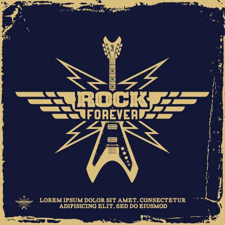 vintage label with rock forever and guitar(T-Shirt Print) Illustration