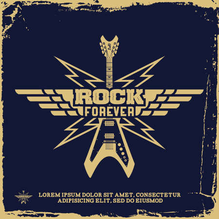 rock   roll: vintage label with rock forever and guitar(T-Shirt Print) Illustration