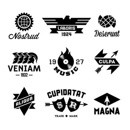 vintage labels with vinyl, gear, arrow, helmet Vector