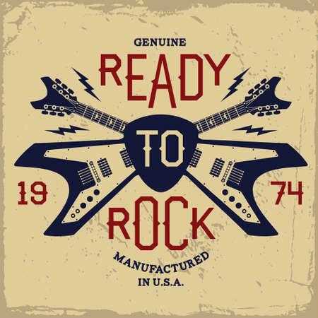 vintage label met klaar om te rocken en gitaar (T-shirt Print)