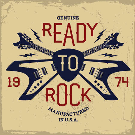 rock: vintage label with ready to rock and guitar(T-Shirt Print) Illustration