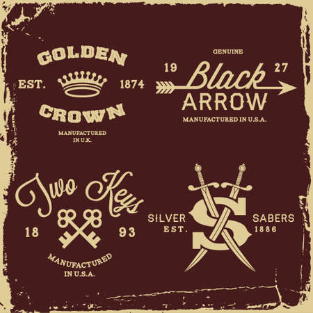 saber: vintage labels with crown, arrow and saber  T-Shirt Print  Illustration