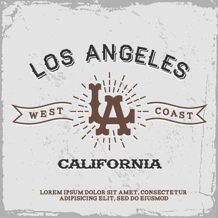vintage label with Los Angeles monogram  T-Shirt Print  向量圖像