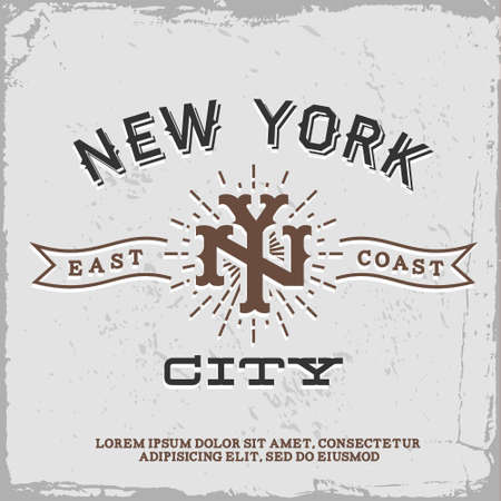 뉴욕시 모노그램 T 셔츠 프린트와 빈티지 라벨