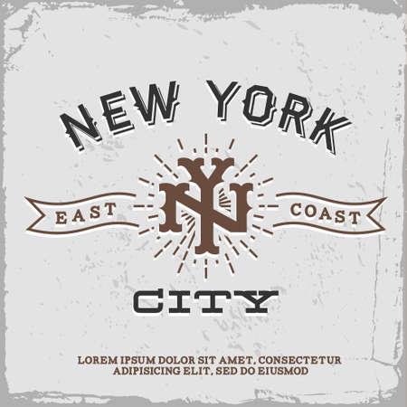 retro design: vintage label with New York City monogram  T-Shirt Print