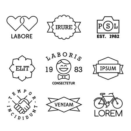 wedding heart: minimal vintage labels with heart, hipster, bicycle