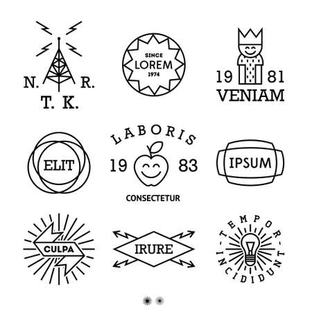 vintage minimal labels with king, shield, cow Vector