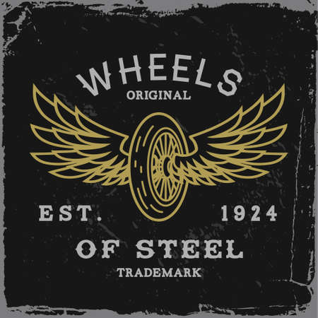 biker: vintage label with wheel and wings T-Shirt Print  Illustration