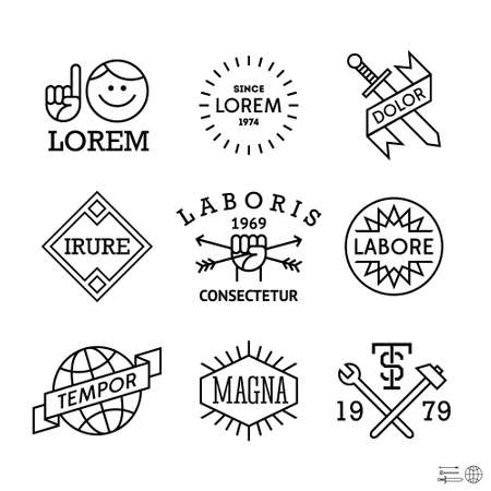 minimal vintage labels with man, sword, globe Vector