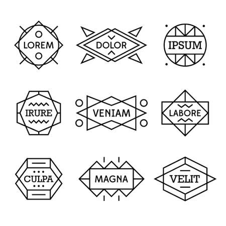 simple geometry: minimal monochrome geometric vintage label