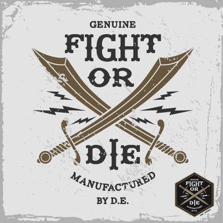 """drapeau pirate: �tiquette vintage """"lutte ou mourir"""" (T-Shirt Print)"""