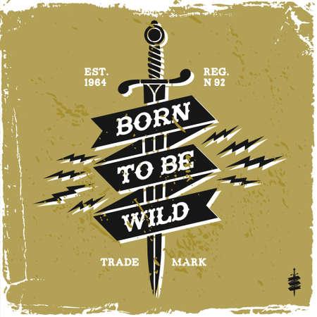 """vintage label """"geboren wild te zijn"""" (T-shirt Print) Stock Illustratie"""