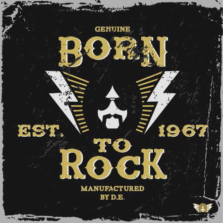 vintage label born to rock (T-Shirt Print)
