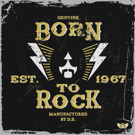 vintage label born to rock (T-Shirt Print) Vector