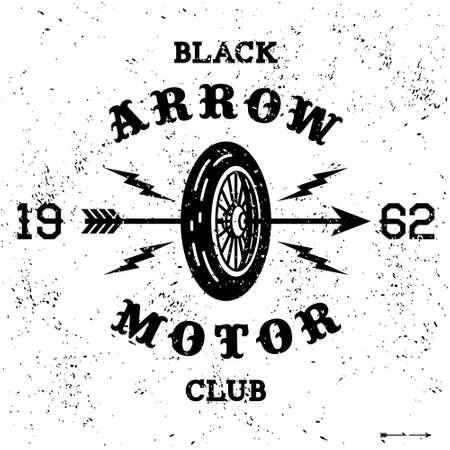 lightning arrow: vintage label  black arrow motor club(T-Shirt Print) Illustration