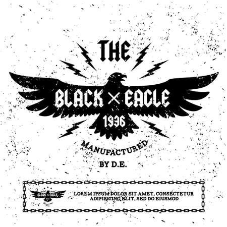 ビンテージ ラベル「黒いワシ(T-Shirt Print)