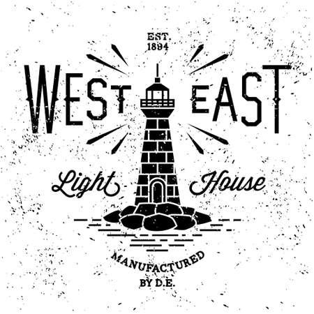 vintage label west east lighthouse(T-Shirt Print)