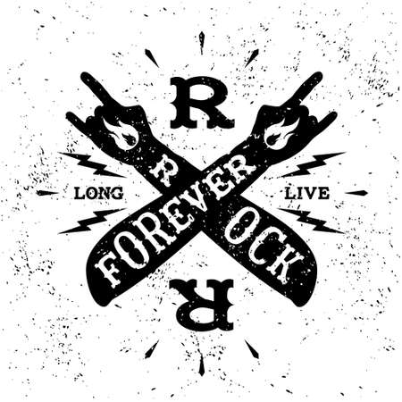 vintage label  rock forever  (T-Shirt Print) Vector