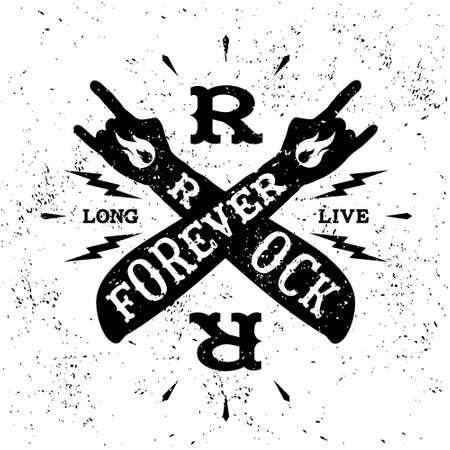 arm tattoo: vintage label  rock forever  (T-Shirt Print)