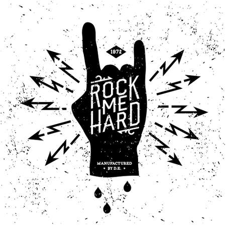rock: vintage label rock me hard (T-Shirt Print)