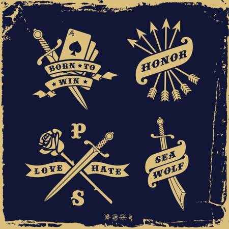 사랑 증오, 장미, 화살표 (T 셔츠 프린트) 빈티지 라벨 일러스트