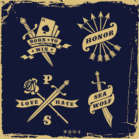 daggers: vintage label with love hate, rose, arrow ( T-Shirt Print ) Illustration