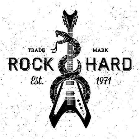 snake eyes: vintage label rock hard ( T-Shirt Print ) Illustration