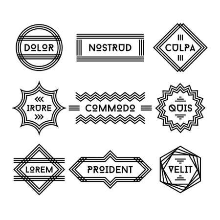 line art: art deco etiqueta geom�trica de la vendimia