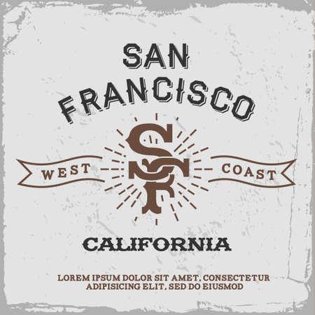 샌프란시스코 모노그램 빈티지 라벨 (T-셔츠 프린트) 일러스트
