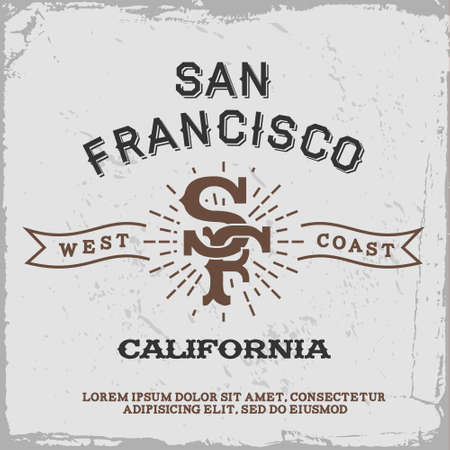 francisco: vintage label with San Francisco monogram ( T-Shirt Print )
