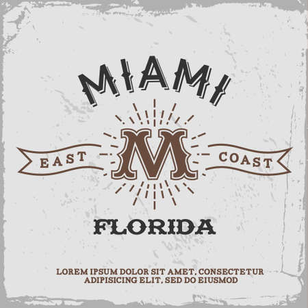 vintage label with Miami monogram ( T-Shirt Print ) Vector