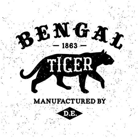 vintage label Bengal Tiger ( T-Shirt Print ) Vector