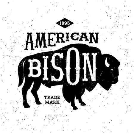 vintage label American Bison ( T-Shirt Print ) Vector