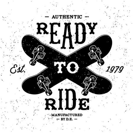 skateboard: vintage label  Ready To Ride ( T-Shirt Print ) Illustration