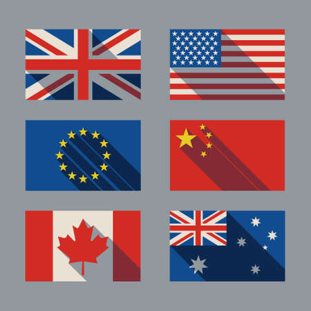 flag with shadow Britain USA Canada Europ China Canada  Australia Vector