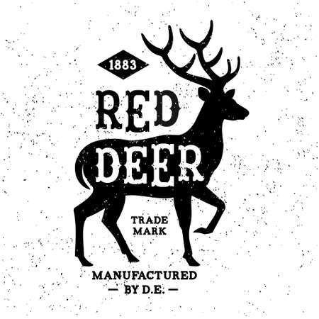 red deer: vintage label Red Deer ( T-Shirt Print ) Illustration