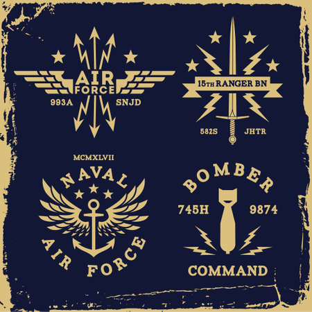vintage military wing bomb anchor ( T-Shirt Print ) Illustration