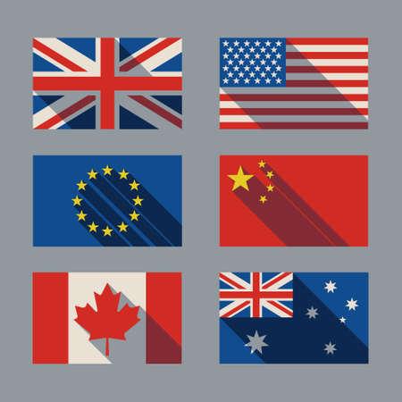 bandera inglaterra: marca con sombra Bretaña EE.UU. Canadá Europ China Canadá Australia Vectores