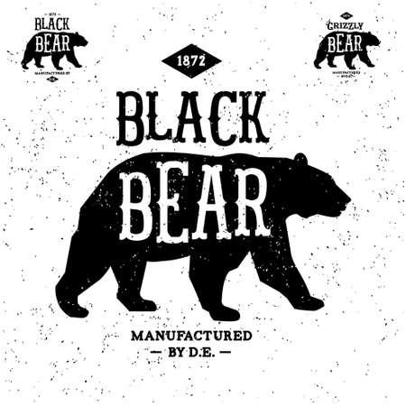 bear's: vintage label bear ( T-Shirt Print ) Illustration