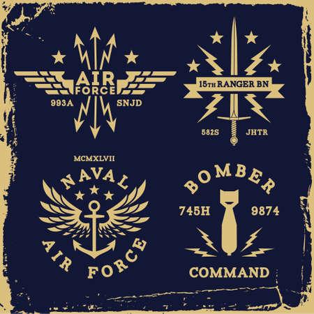 vintage military wing bomb anchor ( T-Shirt Print ) Illustration