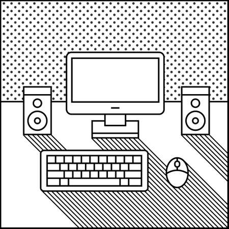 liquid crystal display: monochrome computer, speaker and keyboard on a table