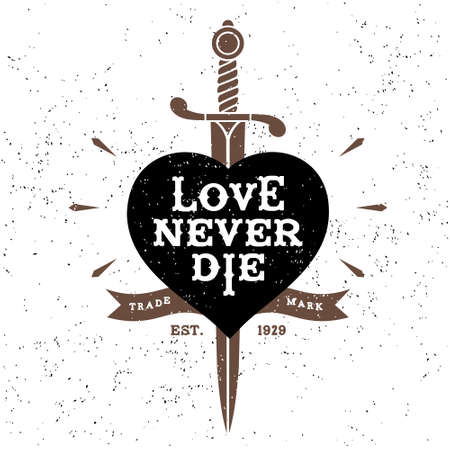 sword and heart: vintage label love never die ( T-Shirt Print ) Illustration