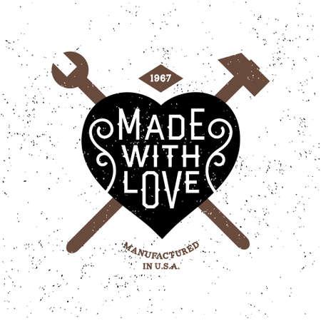 love stamp: vintage label made with love ( T-Shirt Print ) Illustration