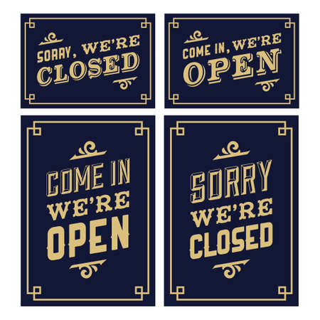 open sign: vintage sign open and closed
