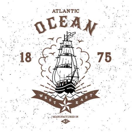 Vintage etykiety ocean atlantycki