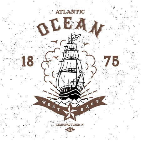 tall ship: vintage label atlantic ocean