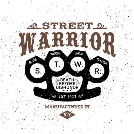 classic tattoo: vintage label street warrior